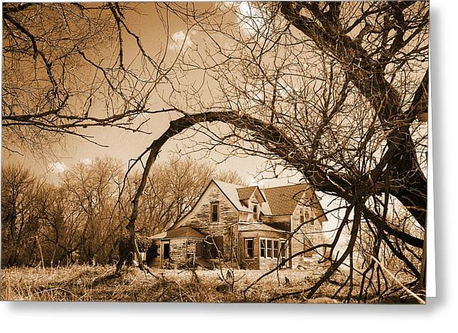 Residential Structure Greeting Cards - Abandoned Farm House  Sepia Toned Greeting Card by Donald  Erickson