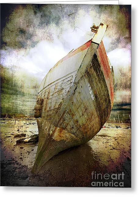 Peeling Greeting Cards - Abandoned Fishing Boat Greeting Card by Meirion Matthias