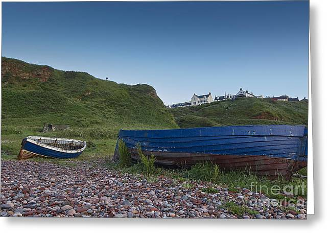 Artist Photographs Greeting Cards - Abandoned Fishing Boats at Auchmithie Greeting Card by Julian  Walters
