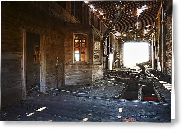 Abandoned Grain Elevator Drive Through Greeting Card by Donald  Erickson