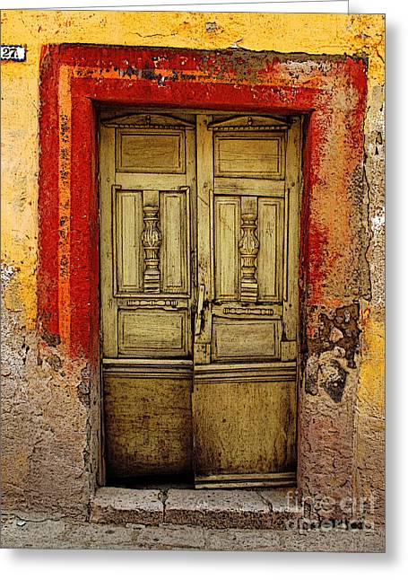 Portal Greeting Cards - Abandoned Green Door 1 Greeting Card by Olden Mexico