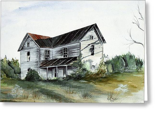Abandoned Houses Drawings Greeting Cards - Abandoned Home Greeting Card by Robin Martin Parrish