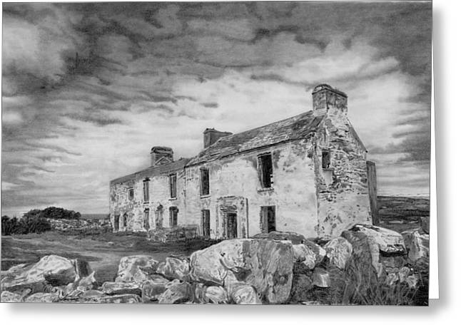 Dilapidated Drawings Greeting Cards - Abandoned House Cork Ireland Greeting Card by Dave Irving