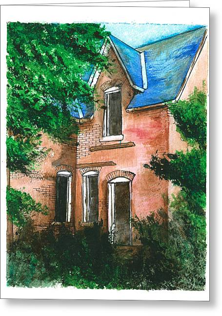 Abandoned Houses Drawings Greeting Cards - Abandoned House Greeting Card by Jonathan Baldock
