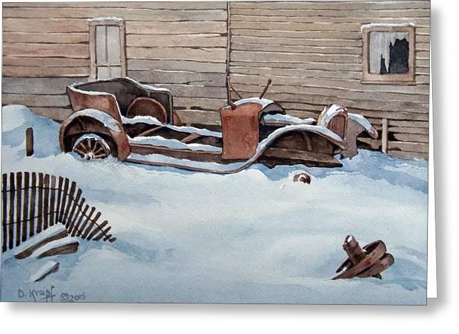 Ford Model T Car Paintings Greeting Cards - Abandoned in Bannock Montana Greeting Card by Dan Krapf