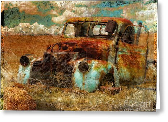 Grungy Paintings Greeting Cards - Abandoned Greeting Card by Mindy Sommers