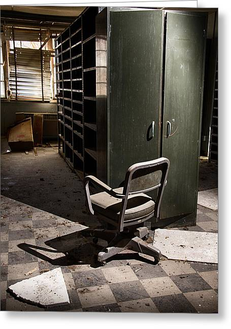 Empty Chairs Greeting Cards - Abandoned Office Greeting Card by Matt Hammerstein