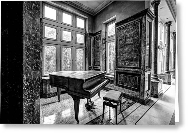 Abandoned Piano Monochroom- Urban Exploration Greeting Card by Dirk Ercken