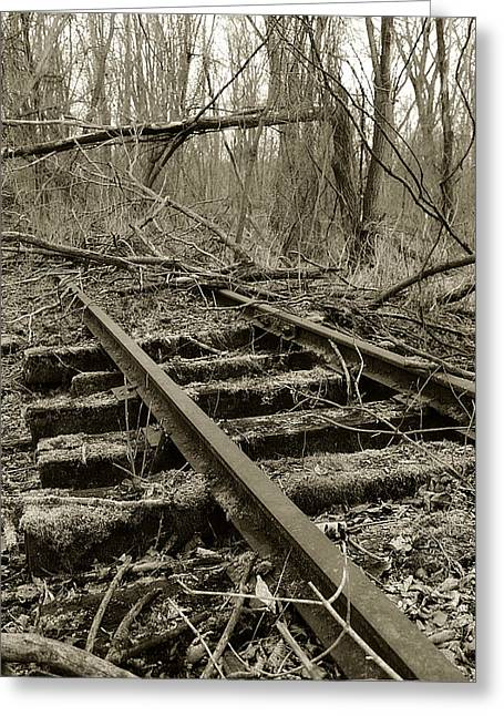 Railroad Tie Greeting Cards - Abandoned Railroad 2 Greeting Card by Scott Hovind