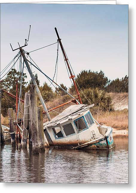 Apalachicola Shrimper Greeting Cards - Abandoned Shrimping Boat Greeting Card by Sandy Potere
