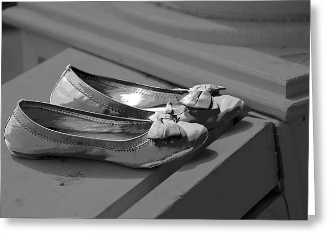 Apparel Greeting Cards - Abandoned Slippers Greeting Card by Malisa Nicolau