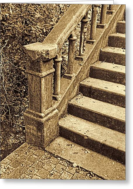Stepping Stones Greeting Cards - Abandoned Stairs Greeting Card by Jim Smith