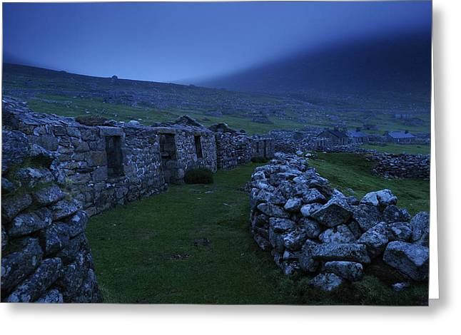Outer Hebrides Greeting Cards - Abandoned Stone-walled Homes At Village Greeting Card by Jim Richardson