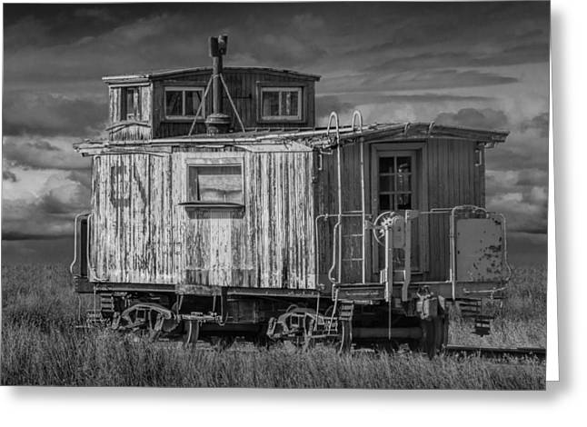 Abandoned Train Caboose Greeting Card by Randall Nyhof