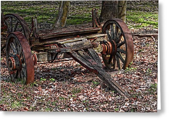 Spokes Greeting Cards - Abandoned Wagon Greeting Card by Tom Mc Nemar
