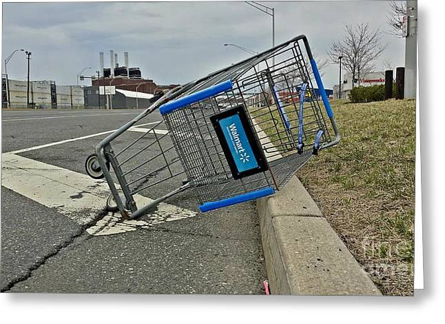 Grocery Store Greeting Cards - Abandoned Walmart shopping cart Greeting Card by Ben Schumin