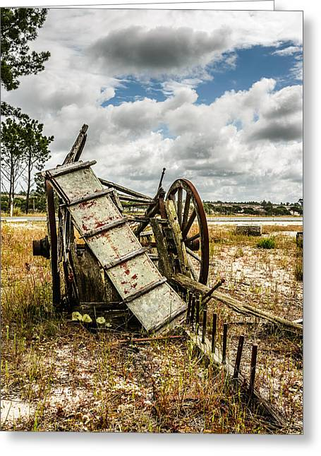 Pull Greeting Cards - Abandoned Wooden Cart II Greeting Card by Marco Oliveira