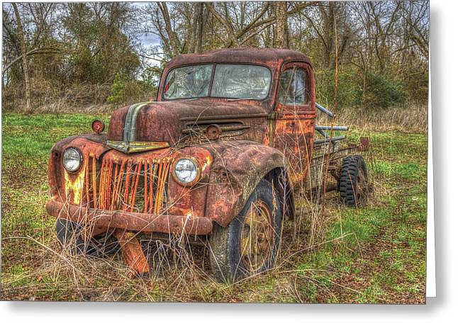 Georgia Cotton Fields Greeting Cards - Abandonment 1947 Ford Stakebed Truck Greeting Card by Reid Callaway