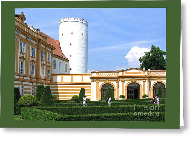 Greeting Cards - Abbey Courtyard and Tower Greeting Card by Ann Horn