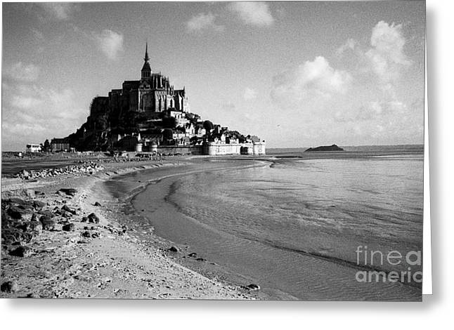 White Pyrography Greeting Cards - Abbey Saint Michel -France. Greeting Card by Cyril Jayant