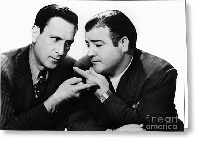 Comedians Photographs Greeting Cards - Abbott And Costello, 1942 Greeting Card by Granger