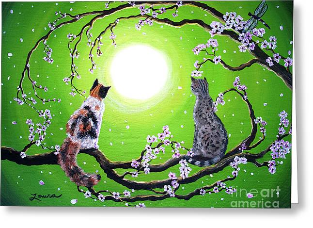 Calico Greeting Cards - Abby and Caesar in the Spring Greeting Card by Laura Iverson