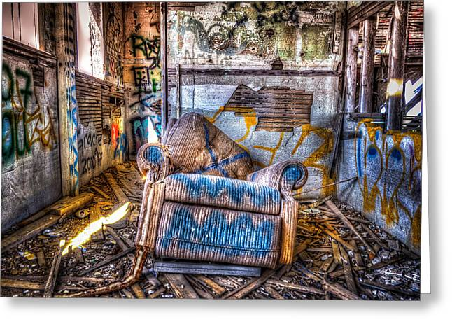 Abandoned School House Greeting Cards - Abducted Recliner Greeting Card by Spencer McDonald