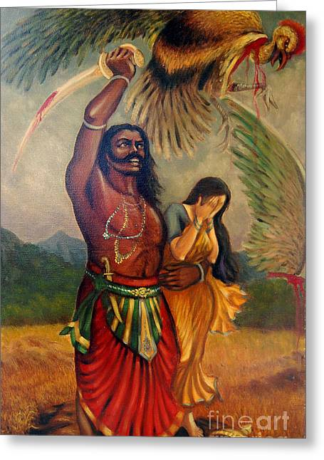 Abduction Of Sita Greeting Card by Anup Roy