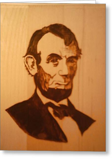 Woodburn Pyrography Greeting Cards - Abe Lincoln Greeting Card by Timothy Wilkerson