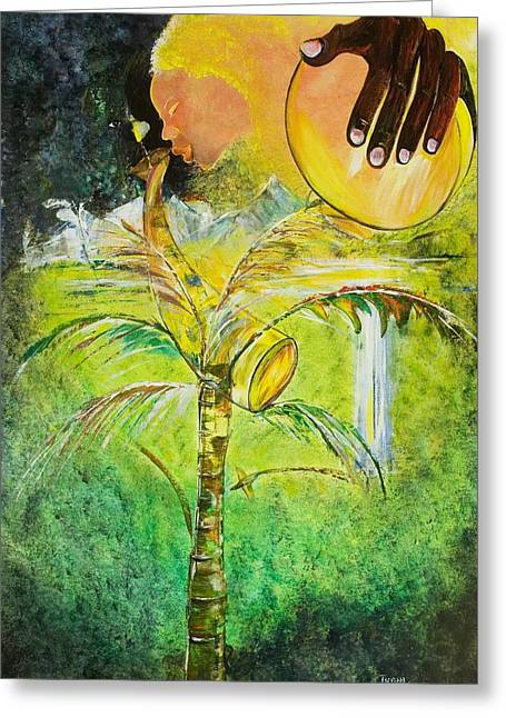 African-american Paintings Greeting Cards - Abeng Greeting Card by Ikahl Beckford