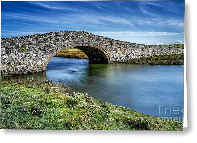 Stone Bridge Greeting Cards - Aberffraw Bridge Greeting Card by Adrian Evans