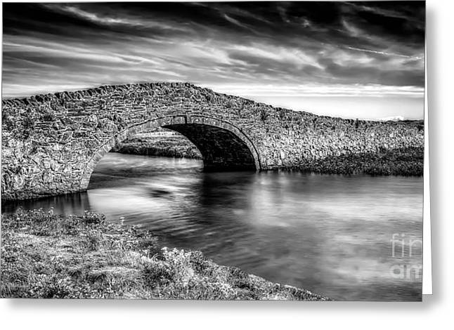 Stone Bridge Greeting Cards - Aberffraw Bridge v2 Greeting Card by Adrian Evans