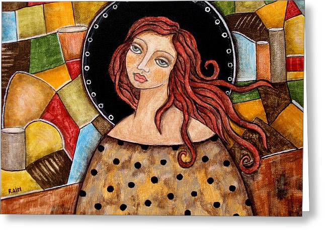 Religious Art Greeting Cards - Abigail Greeting Card by Rain Ririn