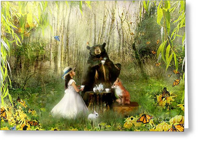 Storybook Mixed Media Greeting Cards - Abigails Friends Greeting Card by Carrie Jackson
