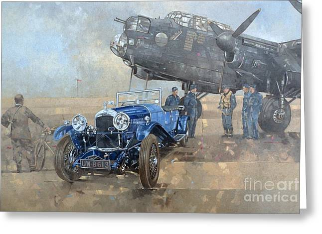 Vintage Airplane Greeting Cards - Able Mable and the Blue Lagonda  Greeting Card by Peter Miller