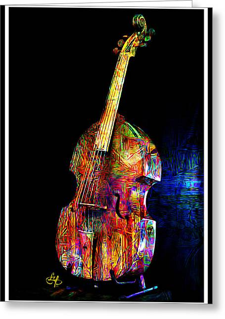 Stand Up Bass Greeting Cards - About That Bass Greeting Card by Lynda Payton