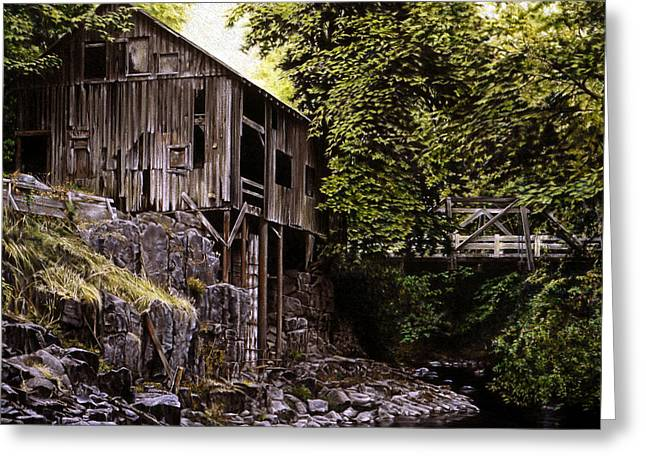 Grist Mill Paintings Greeting Cards - Above Cedar Creek Greeting Card by Craig Shillam