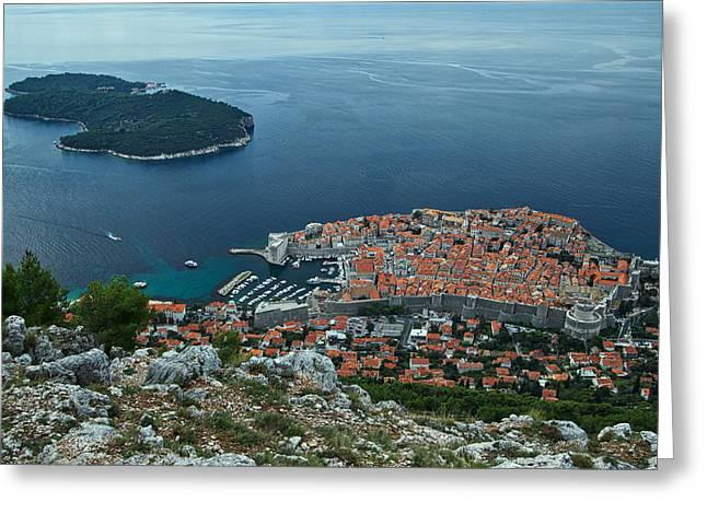 Ocean Panorama Greeting Cards - Above Dubrovnik - Croatia Greeting Card by Stuart Litoff