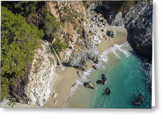 Big Sur California Greeting Cards - Above McWay Falls Greeting Card by David Levy