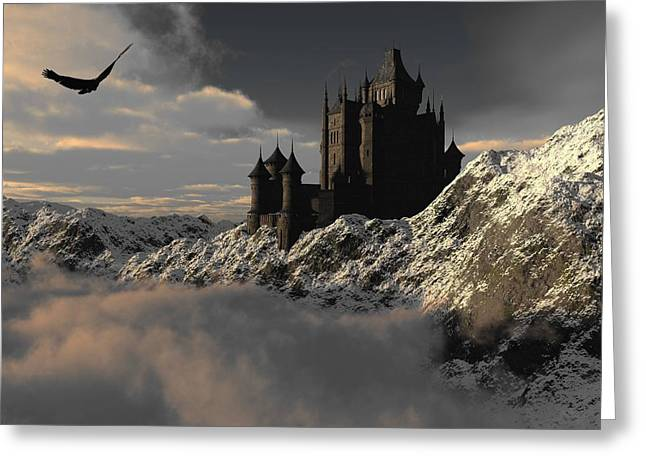 Castle. Birds Greeting Cards - Above the Clouds Greeting Card by Flamenco72