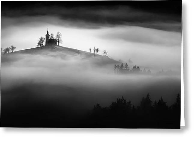 Monochrome Greeting Cards - Above The Mist Greeting Card by Sandi Bertoncelj