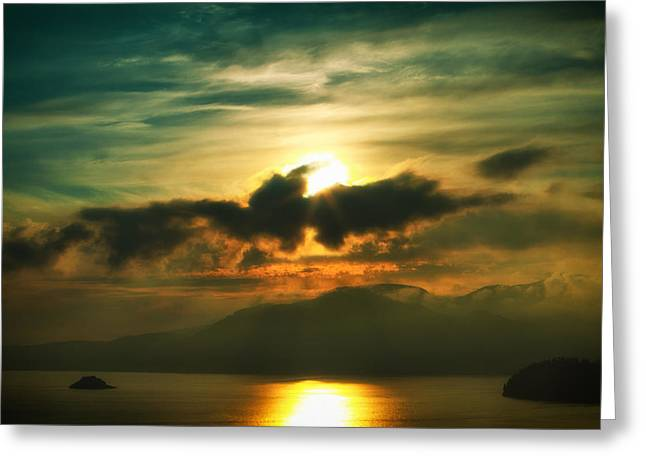 Sky Scape Greeting Cards - Above the Mountains Greeting Card by Naman Imagery