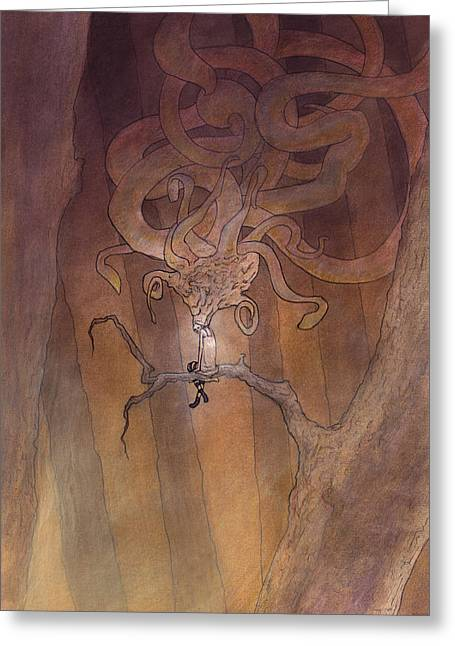 Tentacles Drawings Greeting Cards - Above the Valley Greeting Card by Ethan Harris
