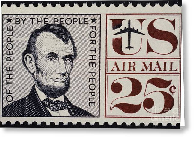 Republican Greeting Cards - ABRAHAM LINCOLN (1809-1865). 16th President of the United States. On a U.S. postage stamp, 1960 Greeting Card by Granger