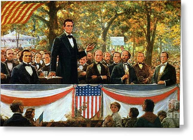 Roots Paintings Greeting Cards - Abraham Lincoln and Stephen A Douglas debating at Charleston Greeting Card by Robert Marshall Root