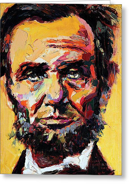 Slavery Paintings Greeting Cards - Abraham Lincoln Greeting Card by Derek Russell