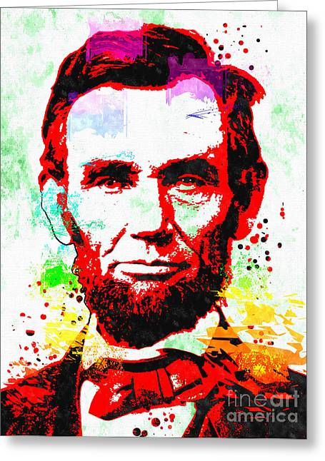 President Of America Mixed Media Greeting Cards - Abraham Lincoln Grunge Greeting Card by Daniel Janda