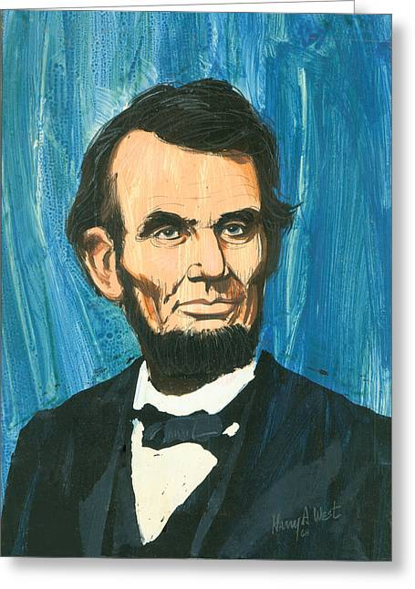 Abe Lincoln Paintings Greeting Cards - Abraham Lincoln Greeting Card by Harry West