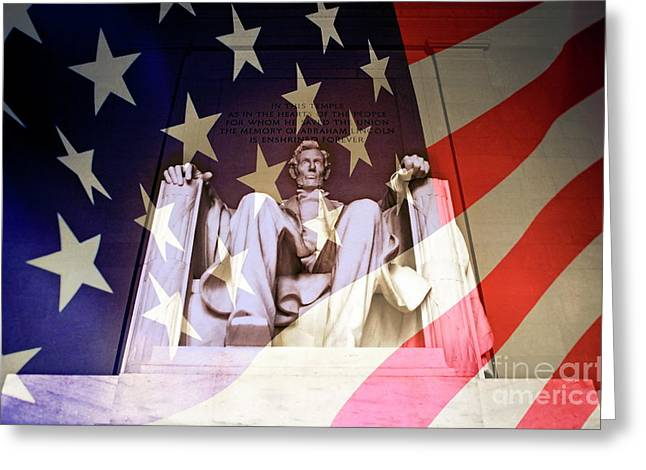 President Of America Greeting Cards - Abraham Lincoln Memorial blended with American flag Greeting Card by Sami Sarkis