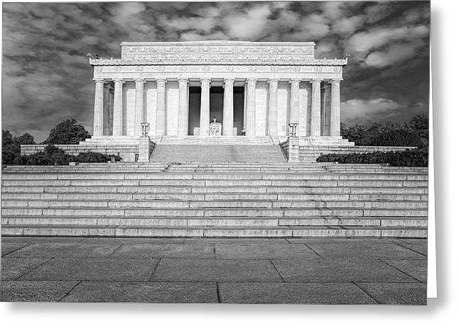 President Of America Greeting Cards - Abraham Lincoln Memorial BW Greeting Card by Susan Candelario